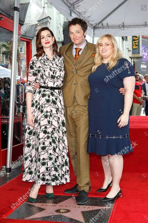 Anne Hathaway, US director Chris Addison and Australian actress Rebel Wilson as Anne receives the 2,663rd Star on the Hollywood Walk of Fame in Hollywood, California, USA, 09 May 2019. The star was dedicated in the Category of Motion Pictures
