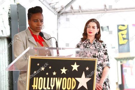 Dee Rees (L) speaks asS actress Anne Hathaway receives the 2,663rd Star on the Hollywood Walk of Fame in Hollywood, California, USA, 09 May 2019. The star was dedicated in the Category of Motion Pictures