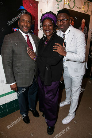 Wendell Pierce (Willy Loman), Sharon D Clarke (Linda Loman) and Kwame Kwei-Armah (Artistic Director)
