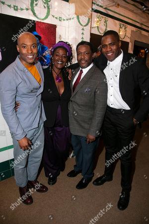 Stock Picture of Arinze Kene (Biff Loman), Sharon D Clarke (Linda Loman), Wendell Pierce (Willy Loman) and Martins Imhangbe (Happy Loman)