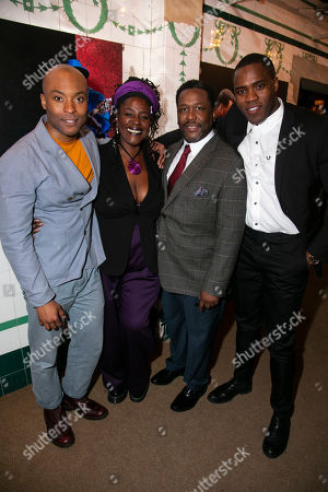 Arinze Kene (Biff Loman), Sharon D Clarke (Linda Loman), Wendell Pierce (Willy Loman) and Martins Imhangbe (Happy Loman)