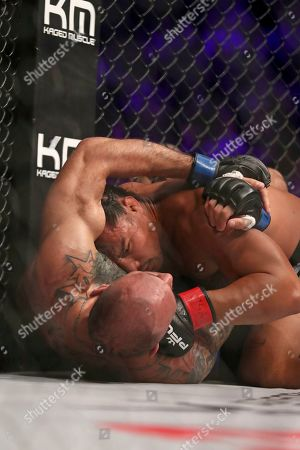 Ray Cooper III, top, in action against Zane Kamaka during their regular season mixed martial arts bout at PFL 1, at the Nassau Coliseum (NYCB Live) in Uniondale, NY. Cooper won via 2nd round submission
