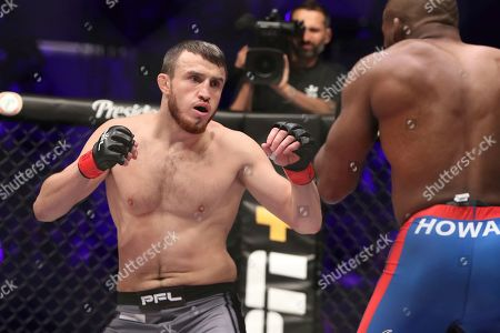Magomed Magomedkerimov, left, in action against John Howard during their regular season mixed martial arts bout at PFL 1, at the Nassau Coliseum (NYCB Live) in Uniondale, NY. Magomedkerimov won via first round submission