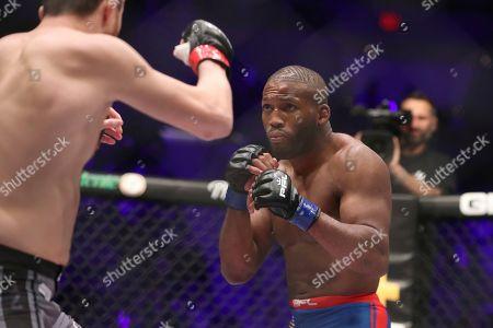 John Howard, right, in action against Magomed Magomedkerimov during their regular season mixed martial arts bout at PFL 1, at the Nassau Coliseum (NYCB Live) in Uniondale, NY. Magomedkerimov won via first round submission