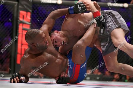 Magomed Magomedkerimov, right, in action against John Howard during their regular season mixed martial arts bout at PFL 1, at the Nassau Coliseum (NYCB Live) in Uniondale, NY. Magomedkerimov won via first round submission