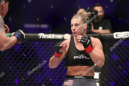 Kayla Harrison, right, in action against Larissa Pacheco during their regular season mixed martial arts bout at PFL 1, at the Nassau Coliseum (NYCB Live) in Uniondale, NY. Harrison won via unanimous decision