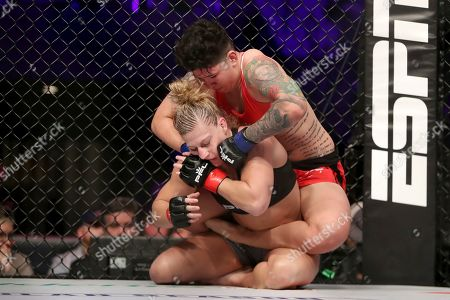 Kayla Harrison defends against Larissa Pacheco during their regular season mixed martial arts bout at PFL 1, at the Nassau Coliseum (NYCB Live) in Uniondale, NY. Harrison won via unanimous decision