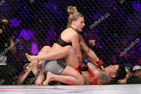 Stock Picture of Kayla Harrison, top, in action against Larissa Pacheco during their regular season mixed martial arts bout at PFL 1, at the Nassau Coliseum (NYCB Live) in Uniondale, NY. Harrison won via unanimous decision