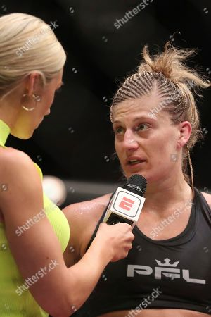 Kayla Harrison is interviewed after a win against Larissa Pacheco during their regular season mixed martial arts bout at PFL 1, at the Nassau Coliseum (NYCB Live) in Uniondale, NY. Harrison won via unanimous decision