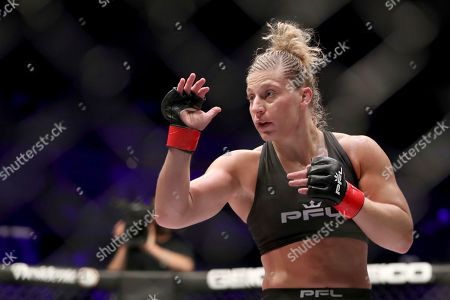 Stock Photo of Kayla Harrison, right, in action against Larissa Pacheco during their regular season mixed martial arts bout at PFL 1, at the Nassau Coliseum (NYCB Live) in Uniondale, NY. Harrison won via unanimous decision