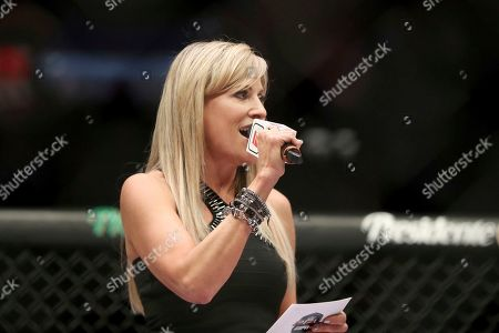 Ring announcer Lilian Garcia is seen at a regular season mixed martial arts bout at PFL 1, at the Nassau Coliseum (NYCB Live) in Uniondale, NY