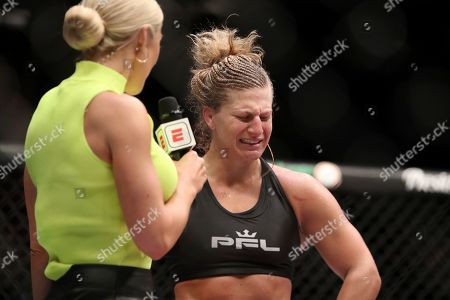 Kayla Harrison cries during an interview after a win against Larissa Pacheco during their regular season mixed martial arts bout at PFL 1, at the Nassau Coliseum (NYCB Live) in Uniondale, NY. Harrison won via unanimous decision