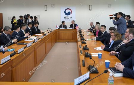 Stock Image of U.S. Special Representative for North Korea Stephen Biegun, rear right, and South Korea's Special Representative for Korean Peninsula Peace and Security Affairs Lee Do-hoon, rear left, talk during their meeting at the foreign ministry in Seoul