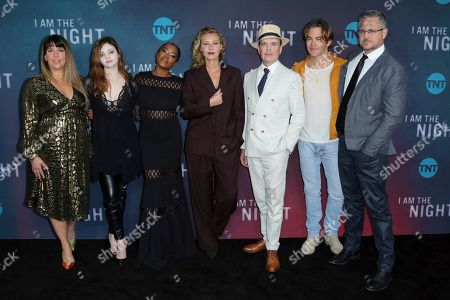 "Patty Jenkins, India Eisley, Golden Brooks, Connie Nielsen, Jefferson Mays, Chris Pine, Sam Sheridan. Patty Jenkins, from left, India Eisley, Golden Brooks, Connie Nielsen, Jefferson Mays, Chris Pine and Sam Sheridan arrive at the ""I Am the Night"" FYC event at the Television Academy Theater, in Los Angeles"