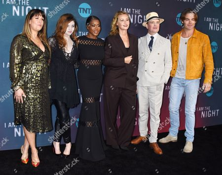 Stock Image of Patty Jenkins, India Eisley, Golden Brooks, Connie Nielsen, Jefferson Mays and Chris Pine