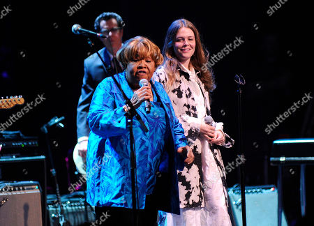 """Mavis Staples, Nicole Atkins. Singer Mavis Staples, left, and Nicole Atkins perform at the Apollo Theater to celebrate the release of her new album """"We Get By,"""", in New York"""
