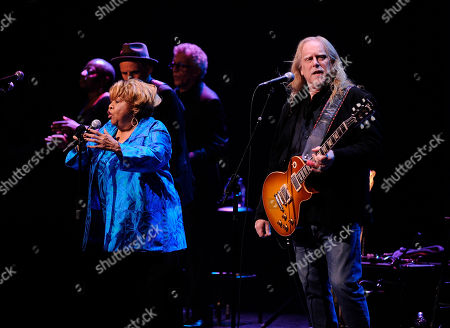 "Stock Picture of Mavis Staples, Warren Haynes. Singer Mavis Staples, left, and Warren Haynes perform at the Apollo Theater to celebrate the release of her new album ""We Get By,"", in New York"