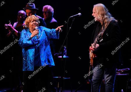 "Stock Image of Mavis Staples; Warren Haynes. Singer Mavis Staples, left, and Warren Haynes perform at the Apollo Theater to celebrate the release of her new album ""We Get By"",, in New York"