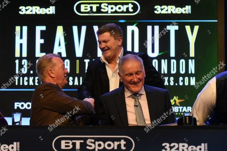 Ricky Hatton shakes hands with Frank Warren during a Press Conference at the BT Studio on 9th May 2019