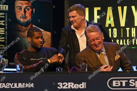 Ricky Hatton shakes hands with Daniel Dubois during a Press Conference at the BT Studio on 9th May 2019