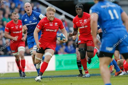 Jackson Wray of Saracens breaks through the Leinster defence. Saracens v Leinster Rugby in The Champions Cup Final at St. James' Park, newcastle upon Tyne on Saturday 11th May 2019