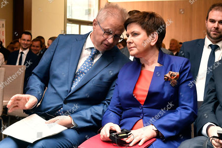 Deputy Prime Minister Beata Szydlo of Poland (R) and Hungarian Justice Minister Laszlo Trocsanyi attend the Europe of Central Europe conference held in Larus Convention Center in Budapest, Hungary, 10 May 2019.