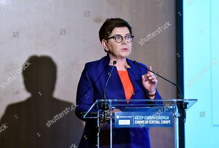 Deputy Prime Minister Beata Szydlo of Poland delivers a lecture during the Europe of Central Europe conference held in Larus Convention Center in Budapest, Hungary, 10 May 2019.
