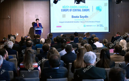 Deputy Prime Minister Beata Szydlo of Poland delivers a lecture during the Europe of Central Europe conference in Larus Convention Center in Budapest, Hungary, 10 May 2019.