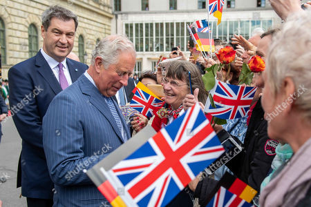 Stock Image of Bavarian Prime Minister Markus Soeder, Prince Charles at a reception at the Max-Joseph-Platz, Munich