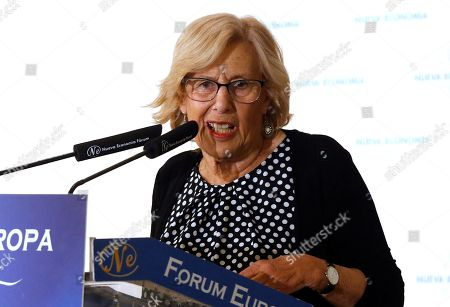 Madrid's Mayoress and Mas Madrid candidate for re-election, Manuela Carmena, delivers a speech during a breakfast briefing organized by Nueva Economia Forum in Madrid, Spain, 10 May 2019. European, local and regional elections will take place 26 May 2019.