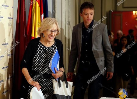 Madrid's Mayoress and Mas Madrid candidate for re-election, Manuela Carmena (L), and the party's candidate for Madrid's regional Presidency, Inigo Errejon (R), arrive to a breakfast briefing organized by Nueva Economia Forum in Madrid, Spain, 10 May 2019. European, local and regional elections will take place 26 May 2019.