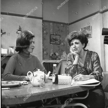 Eileen Mayers (as Sheila Birtles) and Pat Phoenix (as Elsie Tanner)