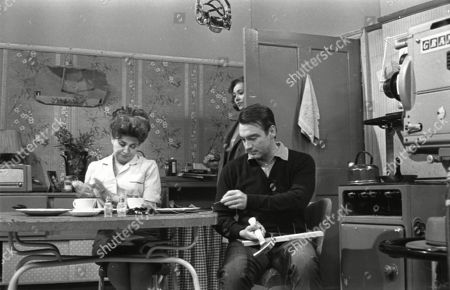 Pat Phoenix (as Elsie Tanner), Anne Cunningham (as Linda Cheveski) and Ernst Walder (as Ivan Cheveski)