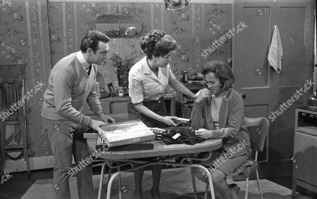 Ernst Walder (as Ivan Cheveski), Pat Phoenix (as Elsie Tanner) and Anne Cunningham (as Linda Cheveski)