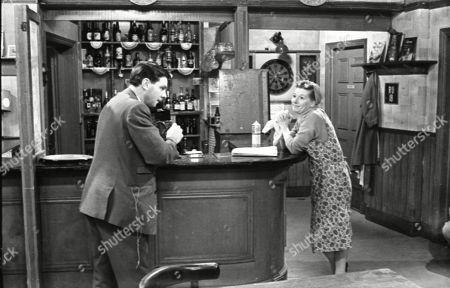 Geoffrey Matthews (as Neil Crossley) and Jean Alexander (as Hilda Ogden)