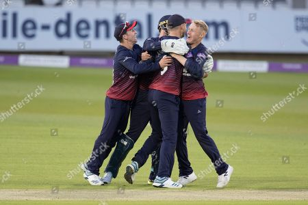 Lancashire team mates celebrate with James Anderson of Lancashire CCC hose direct hit accounted for John Simpson during Middlesex vs Lancashire, Royal London One-Day Cup Cricket at Lord's Cricket Ground on 10th May 2019