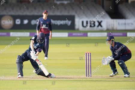 John Simpson of Middlesex CCC plays inside out over cover during Middlesex vs Lancashire, Royal London One-Day Cup Cricket at Lord's Cricket Ground on 10th May 2019