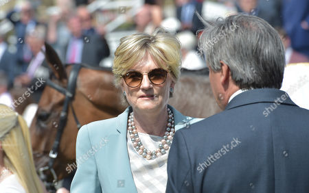 Stock Picture of Lady Lloyd Webber with Lah Ti Dar after winning The Al Basti Equiworld Dubai Middleton Filles Stakes.