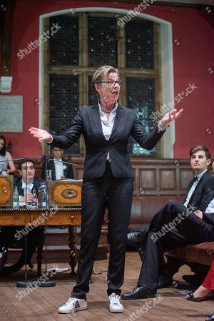 Stock Picture of Katie Hopkins speaking at No Platform Debate