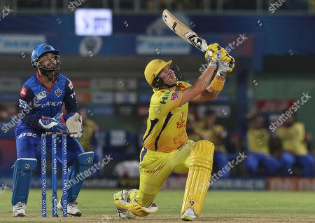 Shane Watson of Chennai Super Kings bats during the VIVO IPL T20 eliminator cricket match between Delhi Capitals and Chennai Super Kings in Visakhapatnam, India