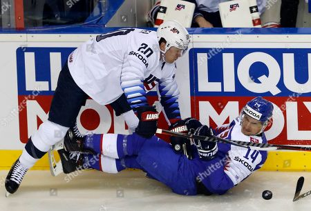 Stock Image of Ryan Sutter of the US, left, challenges Slovakia's Richard Panik, right, during the Ice Hockey World Championships group A match between Slovakia and the United States at the Steel Arena in Kosice, Slovakia