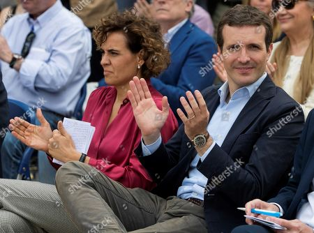 President of People's Party (PP) Pablo Casado (R) applauds next to his party's head of list for the European elections Dolors Montserrat (L) during an event held to present the political formation's program in Zaragoza, Spain, 10 May 2019.The European Union parliamentary elections will take place from 23 to 26 May 2019.