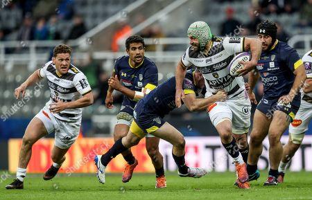 ASM Clermont Auvergne vs La Rochelle. Clermont's Camille Lopez with Kevin Gourdon of La Rochelle