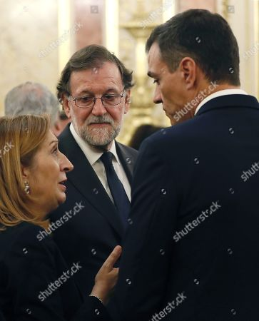Stock Picture of Spanish Prime Minister, Pedro Sanchez (R), talks with Speaker of Spanish Lower House, Ana Pastor Garcia (L), and Spanish former Prime Minister Mariano Rajoy (C) during funeral chapel of former PSOE's party leader Alfredo Perez Rubalcaba, set up at the Lower House in Madrid, Spain, 10 May 2019. Alfredo Perez Rubalcaba, former vicepresident of the Spanish socialist party, passed away on 10 May in Madrid after suffering a stroke two days earlier.