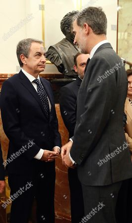 Spain's King Felipe VI (R) greets former Spanish Prime Minister Jose Luis Rodriguez Zapatero (L) upon arrival at the funeral chapel of former PSOE's party leader Alfredo Perez Rubalcaba, set up at the Lower House in Madrid, Spain, 10 May 2019. Alfredo Perez Rubalcaba, former vicepresident of the Spanish socialist party, passed away on 10 May in Madrid after suffering a stroke two days earlier.