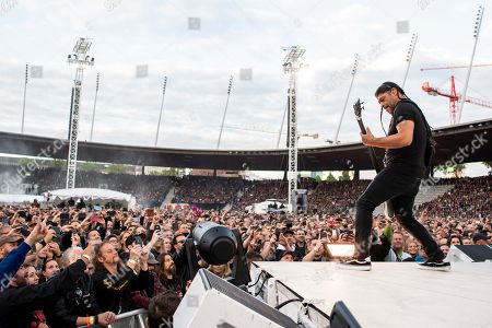 Robert Trujillo of the US heavy metal band Metallica performs with his band at the Letzigrund Stadium