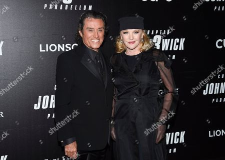"""Ian McShane, Gwen Humble. Actor Ian McShane, left, and wife Gwen Humble attend the world premiere of """"John Wick: Chapter 3 - Parabellum"""" at One Hanson, in New York"""