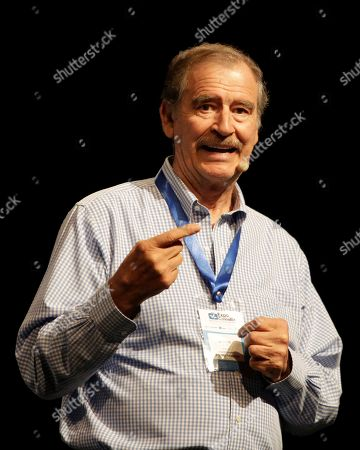 Stock Image of Former President of Mexico Vicente Fox speaks during his conference 'Opportunities of cannabis in the international market', at the Cannabiz Business Conference in Cartagena, Colombia, 10 May 2019.