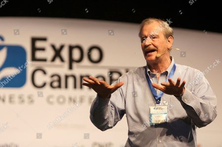 Stock Photo of Former President of Mexico Vicente Fox speaks during his conference 'Opportunities of cannabis in the international market', at the Cannabiz Business Conference in Cartagena, Colombia, 10 May 2019.