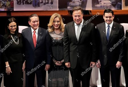 The President-elect of Panama to Laurentino 'Nito' Cortizo (2-L) poses for a photograph while accompanied by Panama President Juan Carlos Varela (2-R), Panama Minister of Foreing Affairs Isabel Saint Malo de Alvarado (L), the President of the National Scrutiny Board (JNE) Nivia Rossana Castrellon (C) and Panama elected vice Presdident Jose Gabriel Carrizo (R) after Cortizo received his credential as President-elect during a ceremony at the Anayansi theater of the Atlapa Convention Center in Panama City, Panama, 10 May 2019. Cortizo, 66, won the 05 May election with 33 percent of votes, in a tight contest with the opponent Romulo Roux of the Cambio Democratico (CD) party, which received 31 percent of the vote, and took several hours to conceed after reporting 'irregularities' in the electoral process.